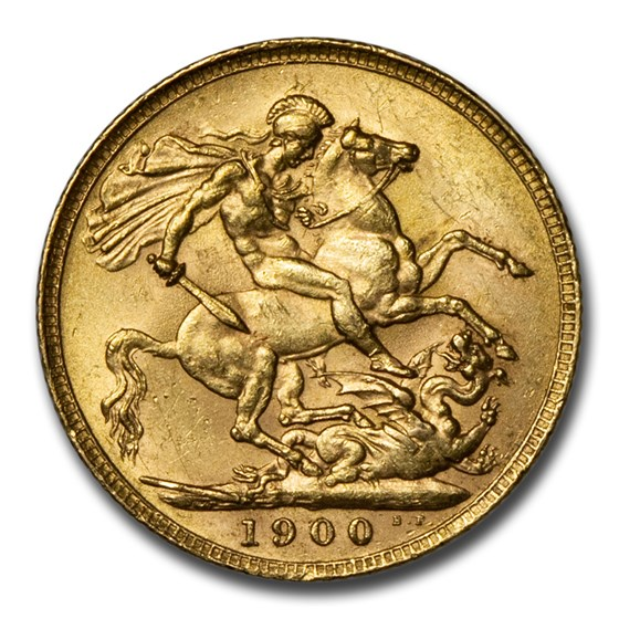 1900 Great Britain Gold Sovereign Victoria Veil Head BU