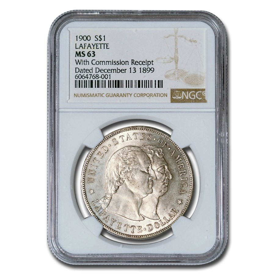 1900 Lafayette Dollar MS-63 NGC ( With Commission Receipt)