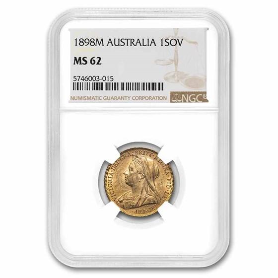 1900-M Australia Gold Sovereign Victoria Veil Head MS-61 NGC