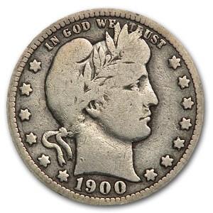 1900-O Barber Quarter VG