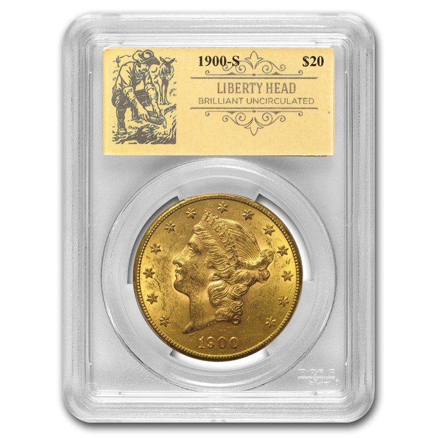 1900-S $20 Liberty Gold Double Eagle BU PCGS (Prospector Label)