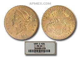 1900-S $20 Liberty Gold Double Eagle MS-60 NGC