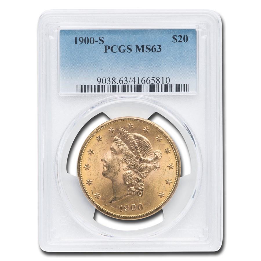 1900-S $20 Liberty Gold Double Eagle MS-63 PCGS