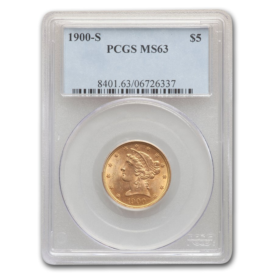 1900-S $5 Liberty Gold Half Eagle MS-63 PCGS