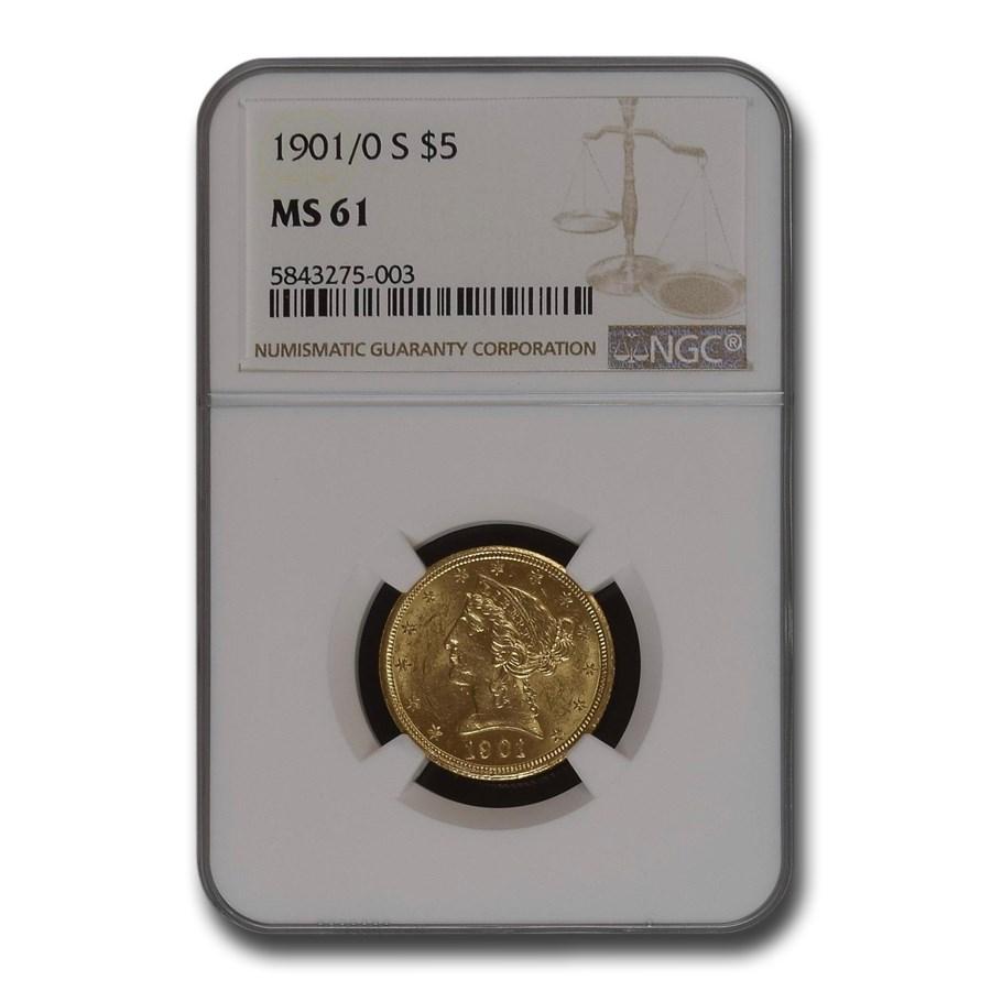 1901/0-S $5.00 Liberty Gold Half Eagle MS-61 NGC