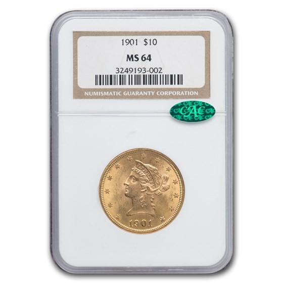 1901 $10 Liberty Gold Eagle MS-64 NGC CAC