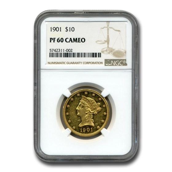1901 $10 Liberty Gold Eagle PF-60 Cameo NGC