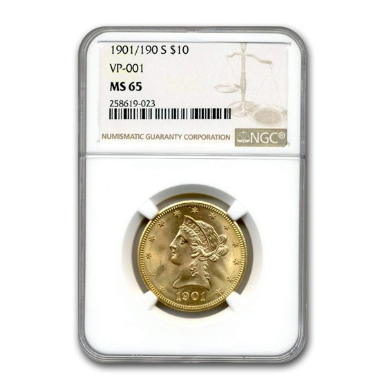 1901/190-S $10 Liberty Gold Eagle MS-65 NGC (VP-001)
