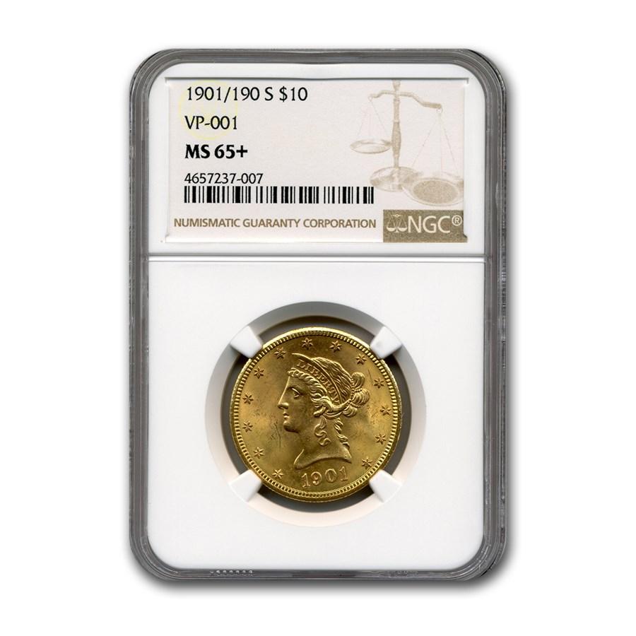 1901/190-S $10 Liberty Gold Eagle MS-65+ NGC (VP-001)