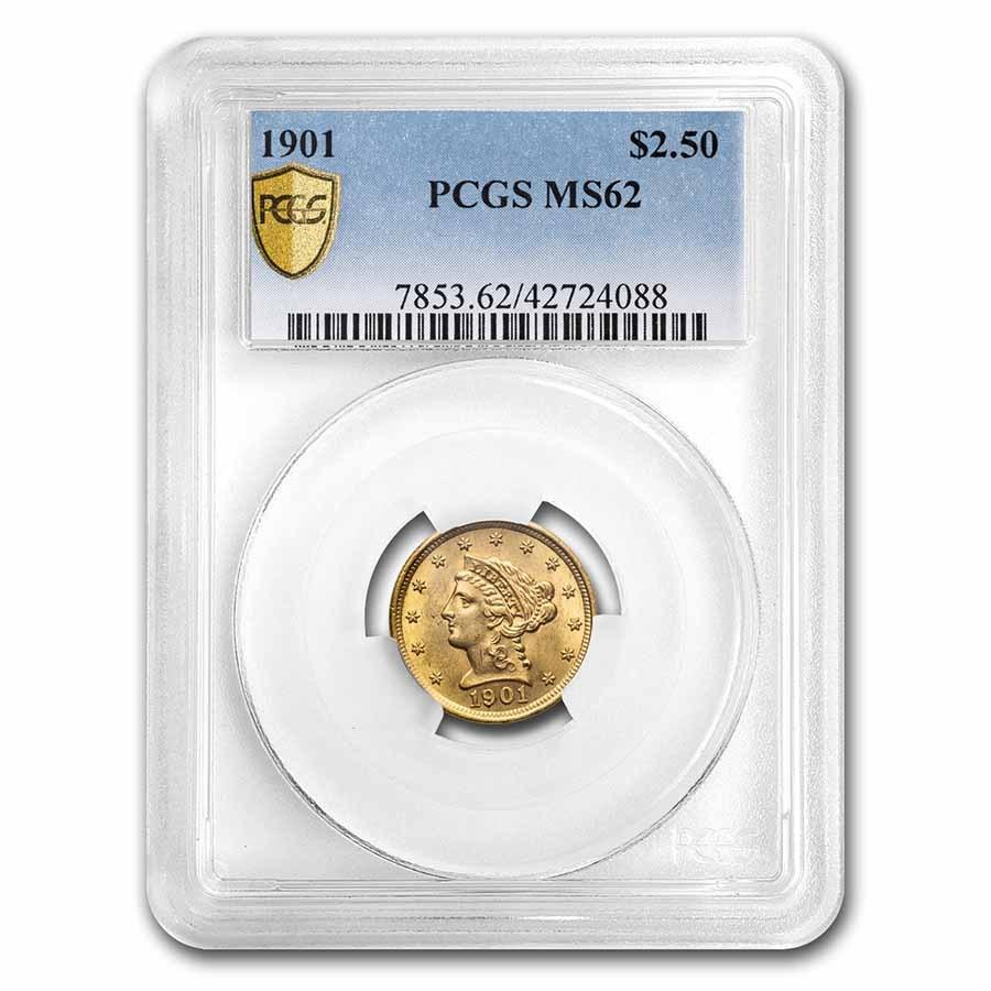 1901 $2.50 Liberty Gold Quarter Eagle MS-62 PCGS