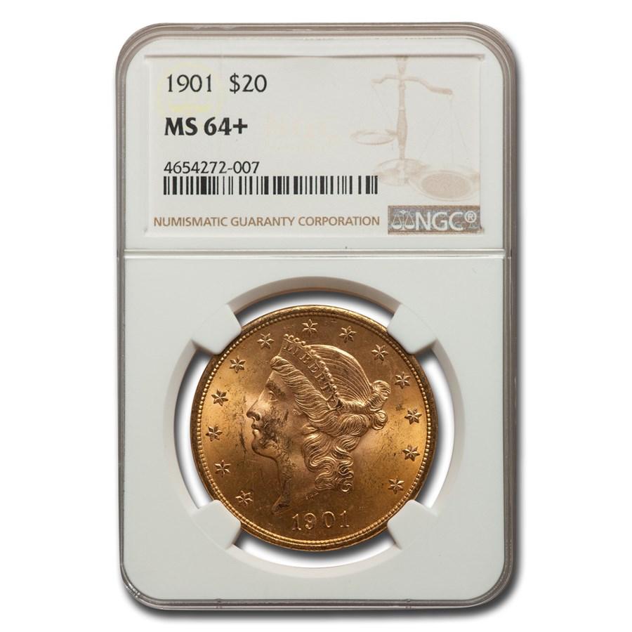 1901 $20 Liberty Gold Double Eagle MS-64+ NGC