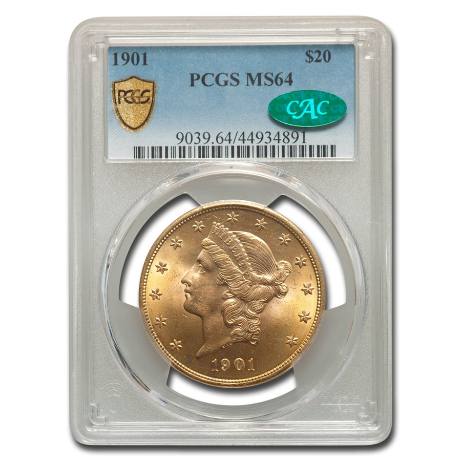 1901 $20 Liberty Gold Double Eagle MS-64 PCGS CAC