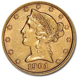 1901 $5 Liberty Gold Half Eagle AU