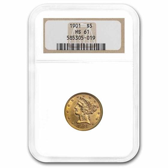 1901 $5 Liberty Gold Half Eagle MS-61 NGC