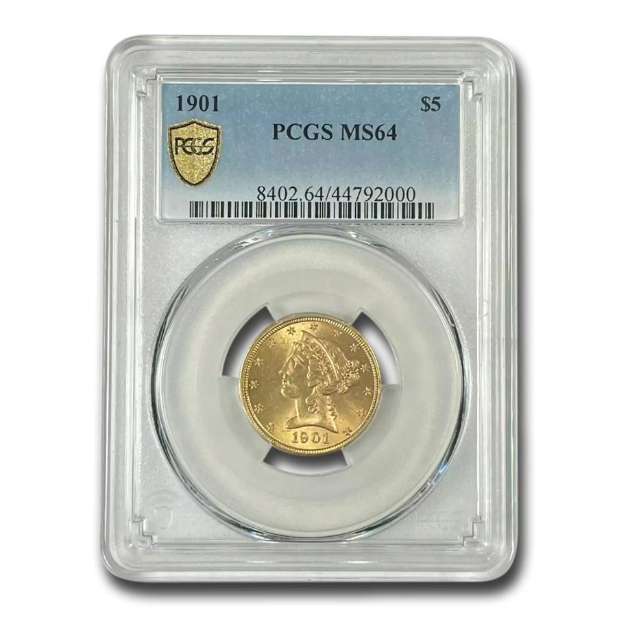 1901 $5 Liberty Gold Half Eagle MS-64 PCGS