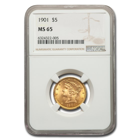 1901 $5 Liberty Gold Half Eagle MS-65 NGC