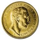 1901-A Germany Gold 20 Marks Prussia Wilhelm II BU