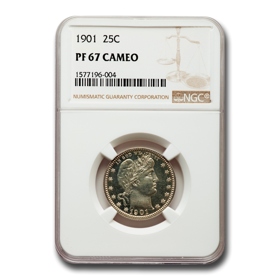 1901 Barber Quarter PF-67 Cameo NGC