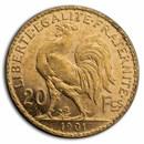1901 France Gold 20 Francs Rooster AU