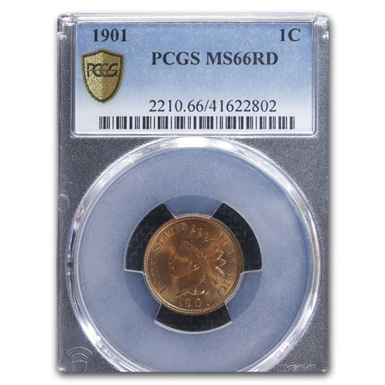 1901 Indian Head Cent MS-66 PCGS (Red)
