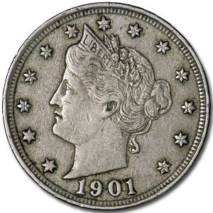 1901 Liberty Head V Nickel XF