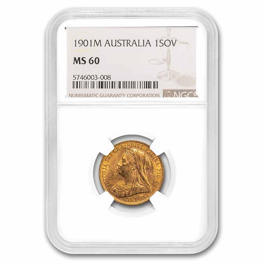 1901-M Australia Gold Sovereign Veil Head Victoria MS-60 NGC