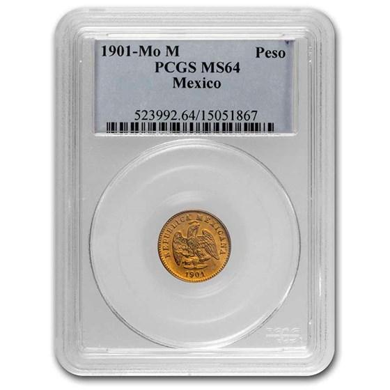 1901 Mo-M Mexico Gold Peso MS-64 PCGS