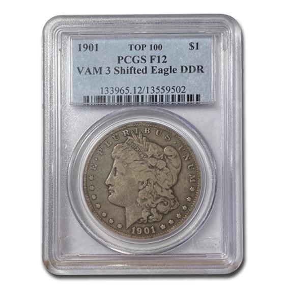 1901 Morgan Dollar Fine-12 PCGS (VAM 3 Shifted Eagle DDR)