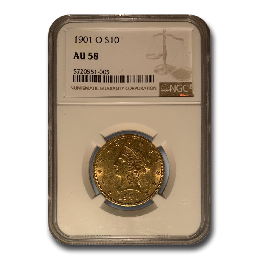 1901-O $10 Liberty Gold Eagle AU-58 NGC