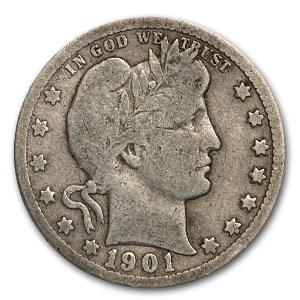 1901-O Barber Quarter VG