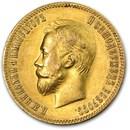 1901 Russia Gold 10 Roubles AU