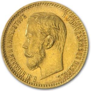 1901 Russia Gold 5 Roubles AU