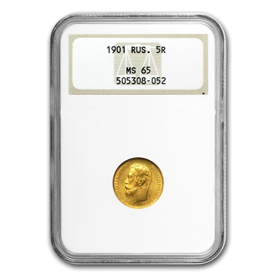 1901 Russia Gold 5 Roubles MS-65 NGC