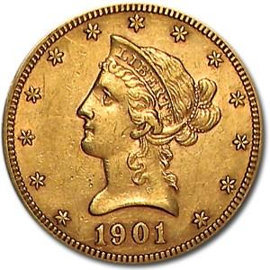 1901-S $10 Liberty Gold Eagle AU