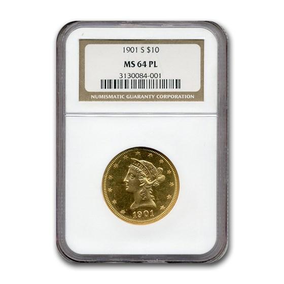1901-S $10 Liberty Gold Eagle MS-64 NGC (PL)