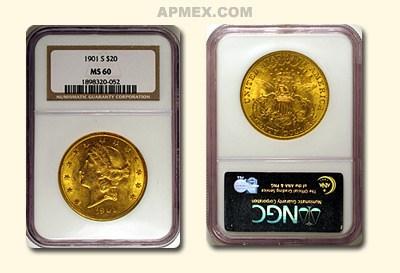 1901-S $20 Liberty Gold Double Eagle MS-60 NGC
