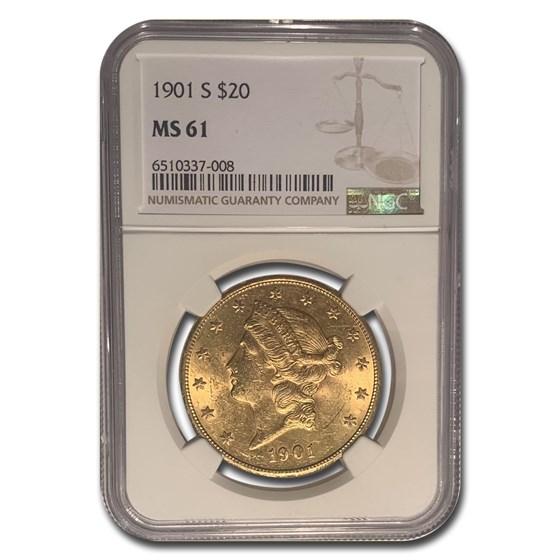 1901-S $20 Liberty Gold Double Eagle MS-61 NGC