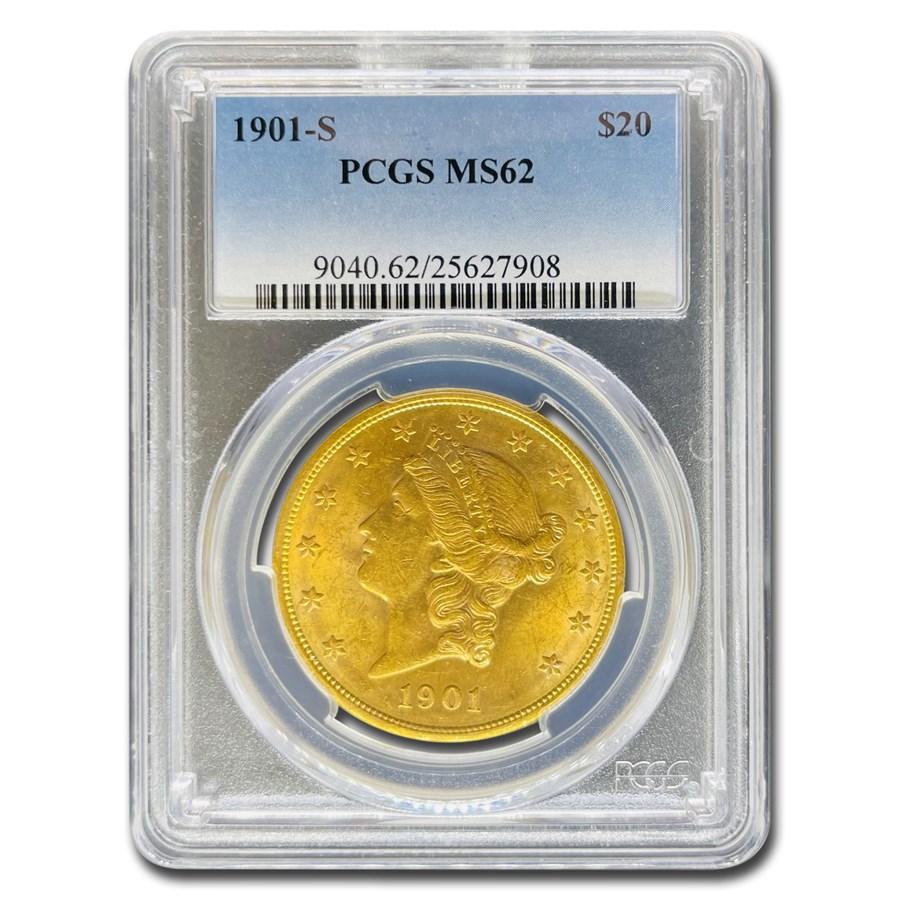 1901-S $20 Liberty Gold Double Eagle MS-62 PCGS