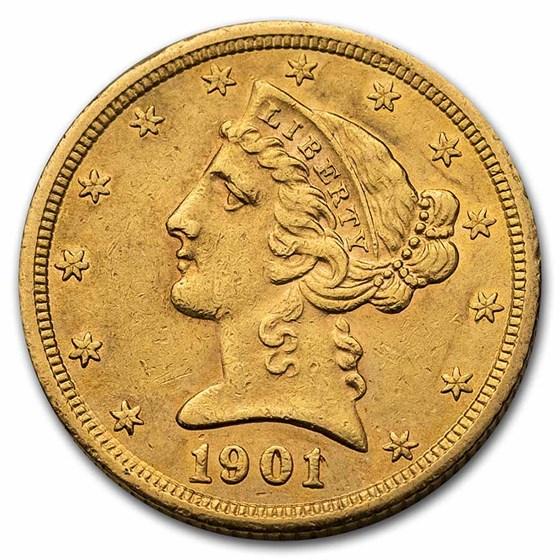 1901-S $5 Liberty Gold Half Eagle AU