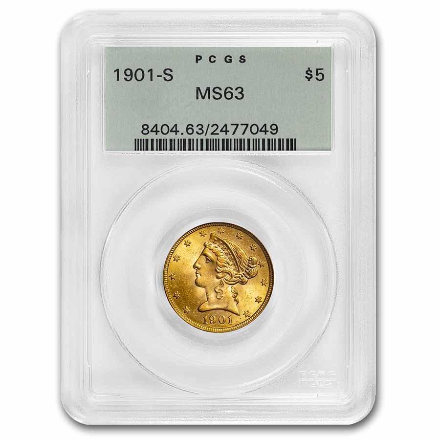 1901-S $5 Liberty Gold Half Eagle MS-63 PCGS