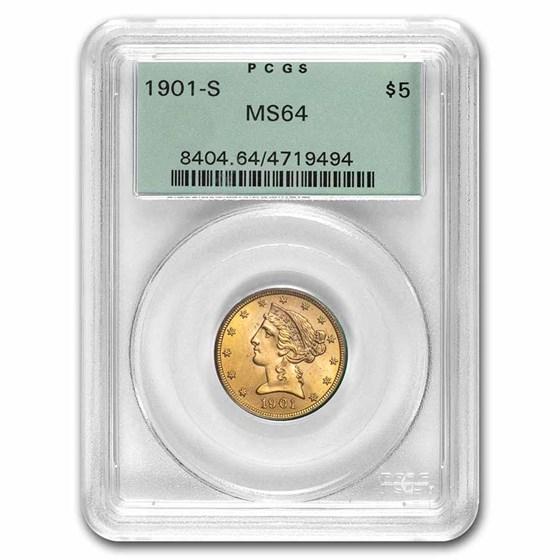 1901-S $5 Liberty Gold Half Eagle MS-64 PCGS (OGH)