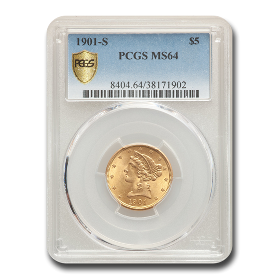 1901-S $5 Liberty Gold Half Eagle MS-64 PCGS