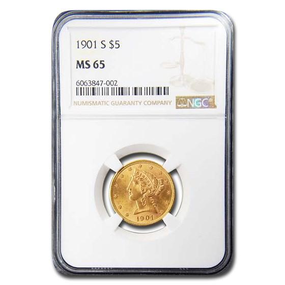 1901-S $5 Liberty Gold Half Eagle MS-65 NGC