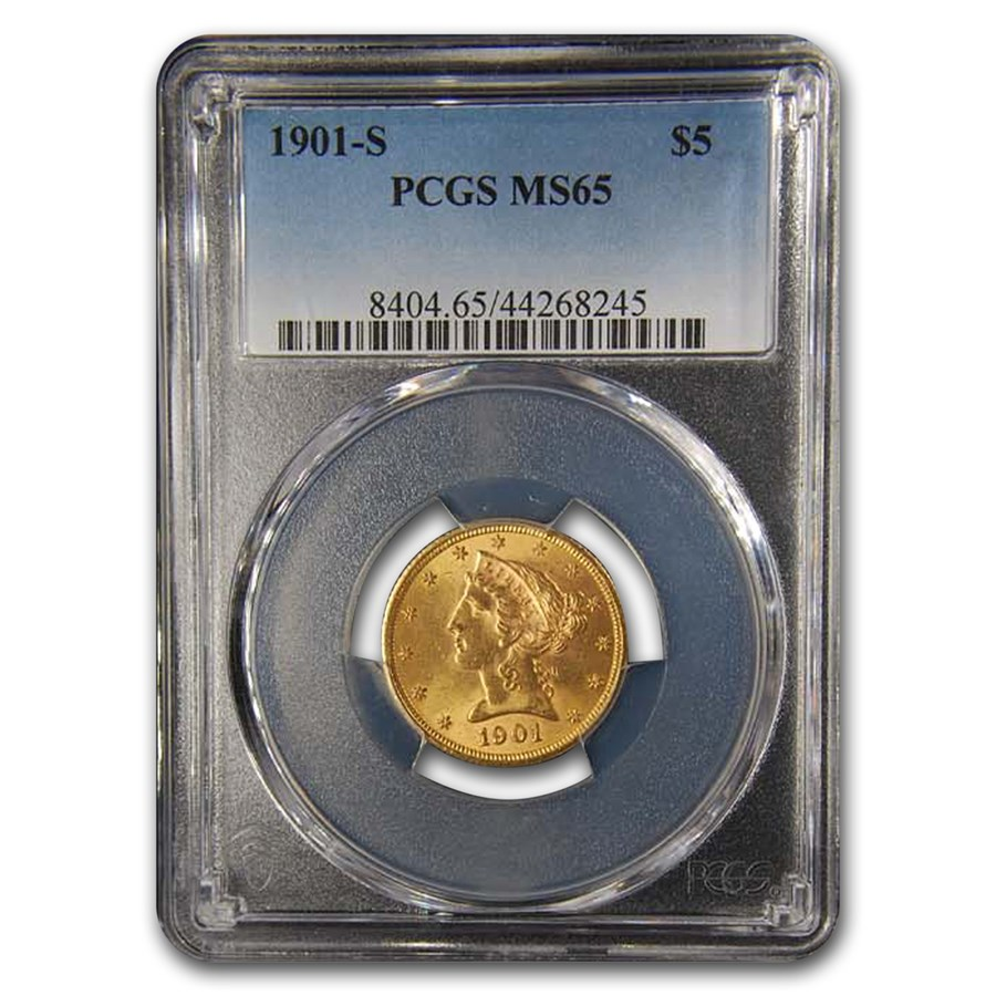 1901-S $5 Liberty Gold Half Eagle MS-65 PCGS