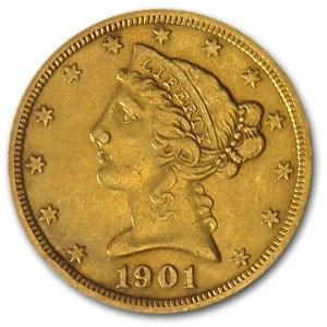 1901-S $5 Liberty Gold Half Eagle S/Micro S XF (FS-501)