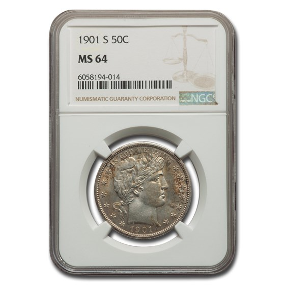 1901-S Barber Half Dollar MS-64 NGC