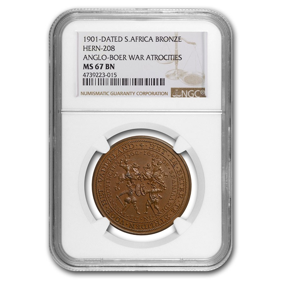 1901 South Africa Bronze Medal Anglo-Boer War MS-67 NGC (Brown)