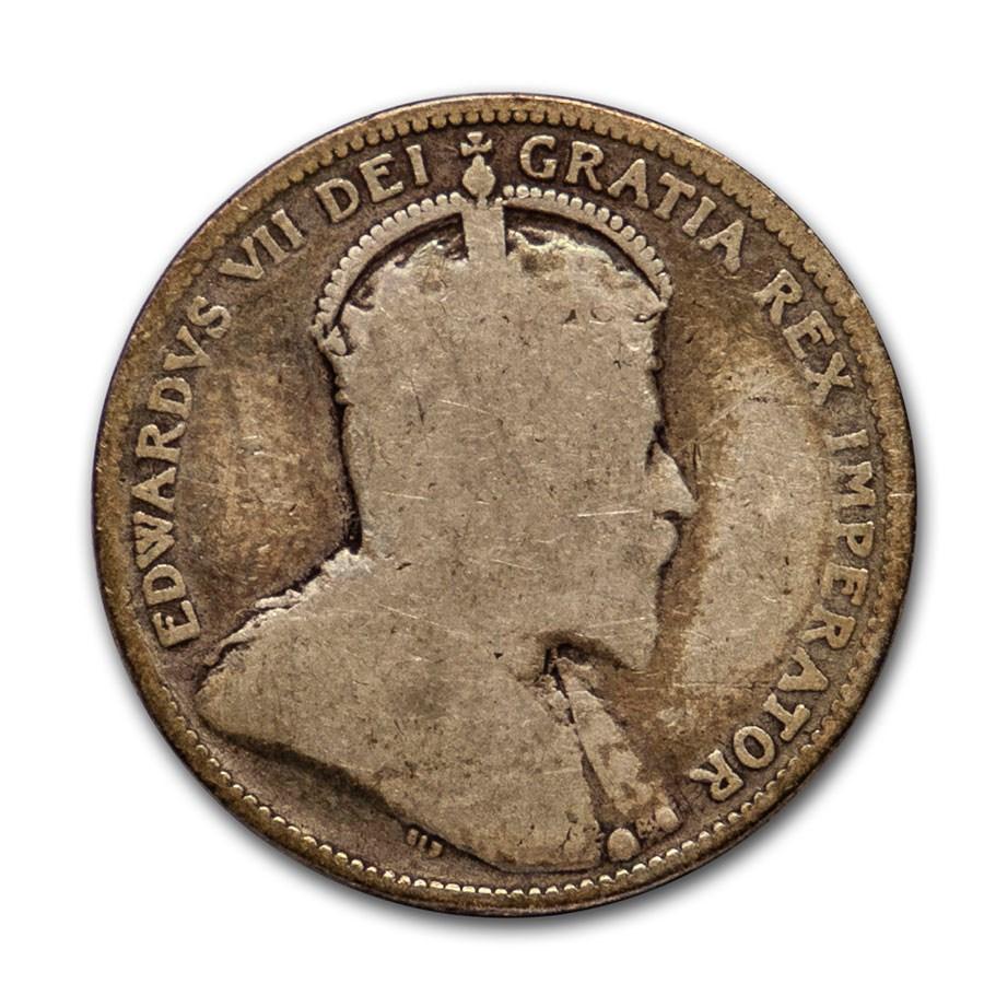 1902-1910 Canada Silver 25 Cents Edward VII Avg Circ
