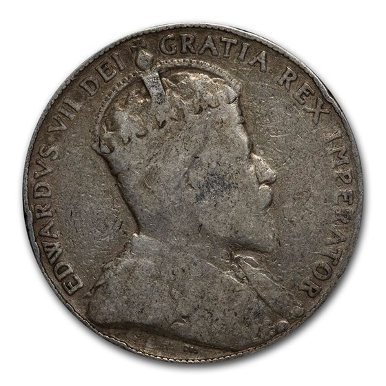 1902-1910 Canada Silver 50 Cents Edward VII Avg Circ