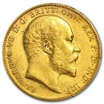1902-1910 Great Britain Gold Sovereign Edward VII Avg Circ